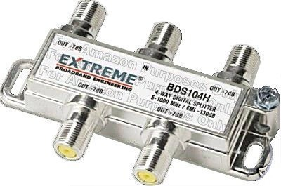 (Extreme 4 Way Balanced HD Digital 1GHz high performance coax cable Splitter - BDS104h)