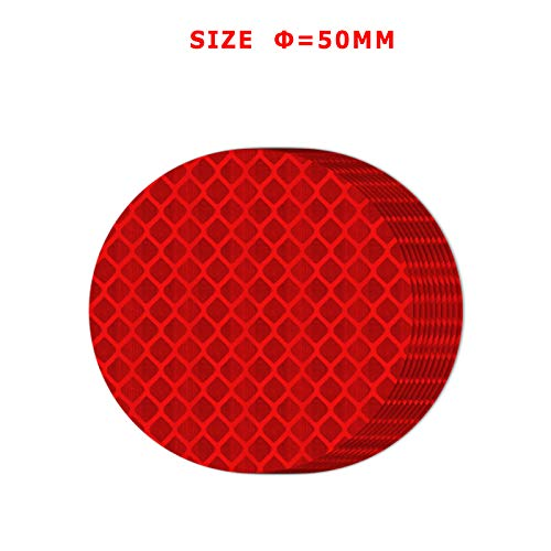 FOLCONROAD 10Pcs Car Reflective Warning Strip Stickers Safety Warning Light Reflector Protective Sticker Diameter 5cm//1.96 Inche RED-Round