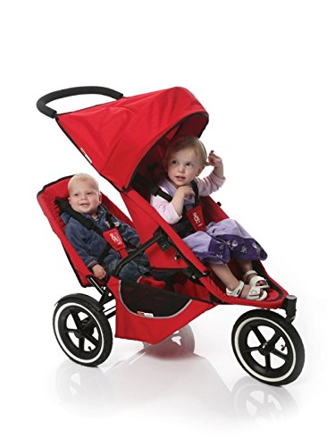 Phil & Teds Classic Inline Folding Baby Stroller with Double Kit Seat - Red