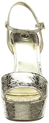 La Strada Gold Cracked Leather Look Sandal - Sandalias Mujer Dorado - Gold (1443 - cracked gold)