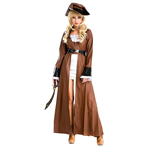 Partiss Women's Plus Size Pirate Captain Costume Adult (Pirate Costume For Womens Ideas)
