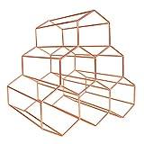 Zmmyr 6 Bottles Metal Wine Rack Honeycomb Creative Living Room Wine Cabinet Decoration Wine Storage Holder (Rose Gold)