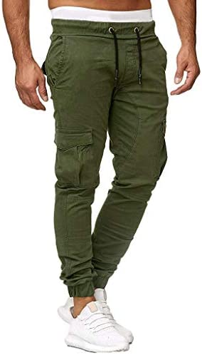 Mens Trousers Cargo Pants Pure color Sports Slacks Stretch Slim fit Western New