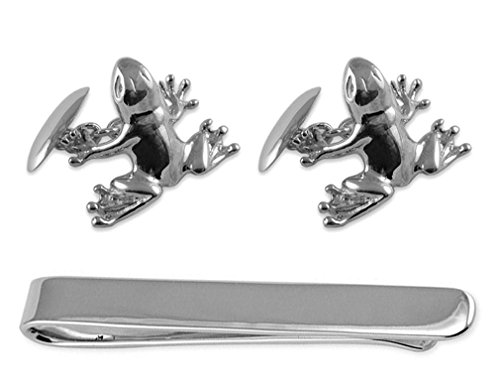 Tie silver Sterling Cufflinks Box frog silver Set Clip Sterling wqqEvUrX