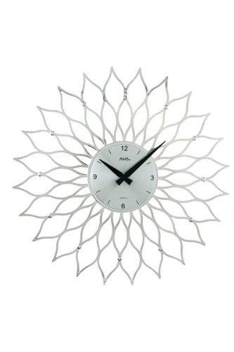 ドイツ製お洒落な花弁装飾デザイン掛時計。シルバー、ゴールドの2色/AMS9359 (シルバー) B008KMWKOE シルバー シルバー