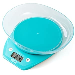 HULLR Multifunction Digital Kitchen Food Scale With Bowl 11Lb 5Kg (Batteries Included) (Blue)