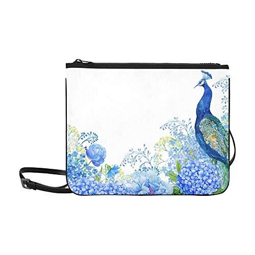 Big Bird Peacock And Blue Flowers Pattern Custom High-grade Nylon Slim Clutch Bag Cross-body Bag Shoulder Bag (Coral Ireland Kathy)