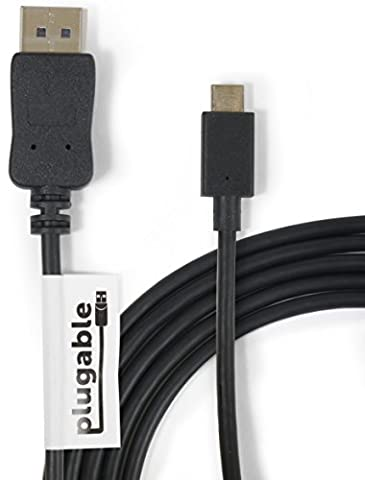 Plugable USB-C to DisplayPort Adapter Cable (6'/1.8m) for 2016 / 2017 MacBook Pro, MacBook Retina 2015 / 2016, Chromebook Pixel, Thunderbolt 3 & More (Supports 4K / UHD Displays up to (Galaxy Note 2015 Tablet)