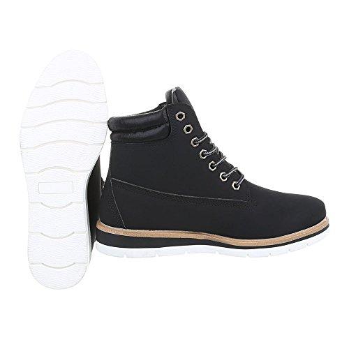 Schuhcity24 Damen Schuhe Stiefeletten Schnür Boots Schwarz