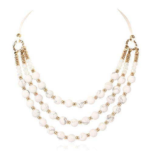 (RIAH FASHION Three Strand Natural Stone Beads Faux Leather Multi Layer Statement Necklace (White Howlite))