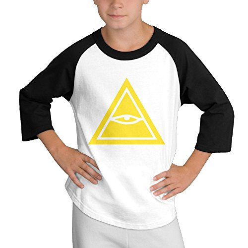 Price comparison product image MULTY9 Eye Of Horus Child Youth 3/4 Raglan T-Shirt Top X-Large