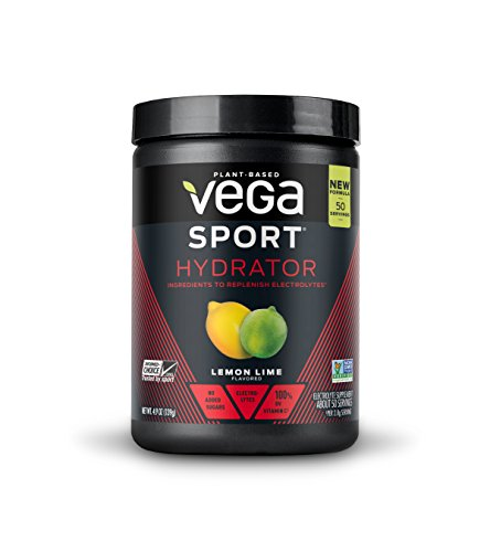 New Vega Sport Hydrator Lemon Lime (50 Servings, 4.9 oz Tub) - Electrolyte Powder, Gluten Free, Non Dairy, Vegan, Sugar Free, Keto Friendly, Non GMO