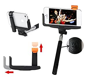 Selfie Stick iPhone 5/5s, 6/6s Plus, Samsung S5, S6 Edge Plus, Black Wireless Bluetooth Extendable Monopod With Remote Shutter Built-in By Smartek18