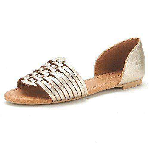 DREAM PAIRS RITAA Women's Gladiator Easy Slip On Open Narrow Toe Flat Summer Sandals GOLD SIZE 9