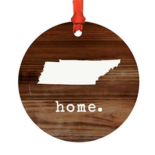- Andaz Press US State Round Metal Christmas Ornament, Rustic Wood Print, Tennessee, 1-Pack, Includes Ribbon and Gift Bag