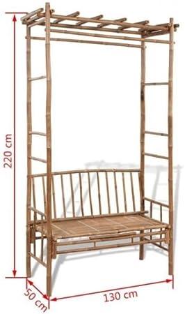 Banco de jardín con pérgola para exteriores, moderno mueble de patio, madera maciza, asiento de bambú: Amazon.es: Jardín