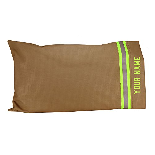 Fully Involved Stitching Firefighter Personalized Tan Pillow Case