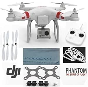 DJI Phantom Aerial UAV Drone Quadcopter Version 1.1.1 for GoPro Camera Hero 1 2 3 Hero3+ Silver Black and other actioncams + DJI Extra Prop Guards + DJI Extra Set Self Tightening Propellers + Carbon Fiber Anti Vibration Anti-Jello Mount + Koozam Cleaning Cloth Extra Value Ultimate Bundle