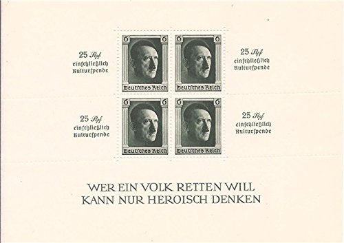 Germany 1937 4 Stamp Semi-Postal Souvenir Sheet #B104 - Germany Usps