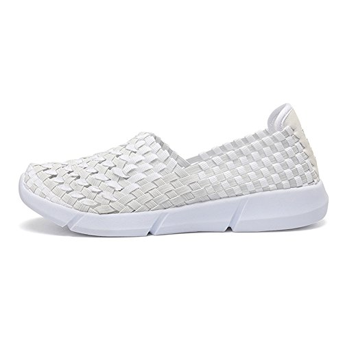 Breathable Girls Trainers Shoes Water On for Woven Summer Elastic Slip White Women Ladies Walking Casual Sneakers Monrinda Lightweight Comfortable zI4TvYw8q