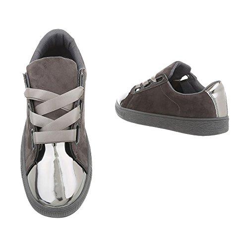 Ra1041 Argent Espadrilles Gris Chaussures Sneakers Plat Mode Ital Low Femme design Baskets Pw0vvFgq