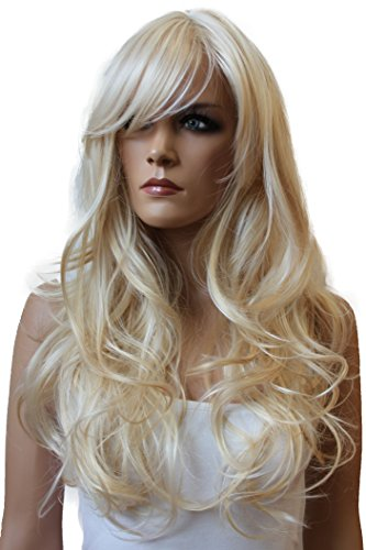 PRETTYSHOP Fashion Lady Wig Long Hair Curled Wavy honey blonde mix highlights Heat-Resistant