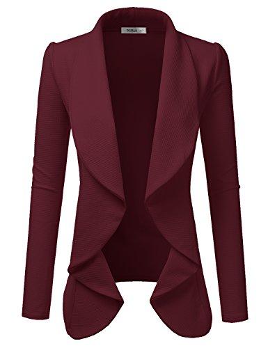 Doublju Classic Draped Open Front Blazer for Women with Plus Size Ruby - Blazer Ruby Red