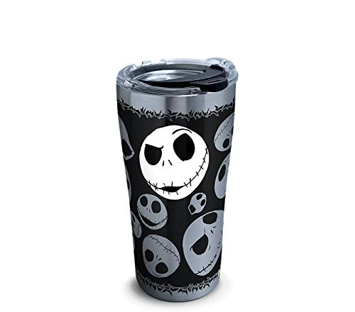 Tervis 1297808 Disney-Nightmare Before Christmas 25th Anniversary Stainless Steel Insulated Tumbler with Clear and Black Hammer Lid, 20oz, Silver