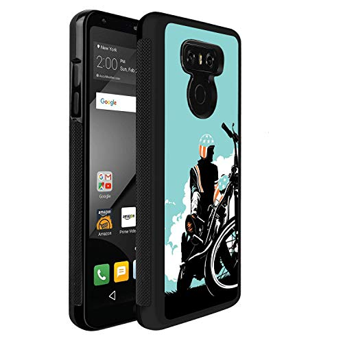 Design Case for LG G6,Merciey Black PC and TPU Cool Motorcyclist Personalized Customization Pattern Protective Cover, LG G6 Case ()
