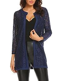 Women Floral Lace Shrug Long Sleeve Front Open Bolero Blouse Crop Top