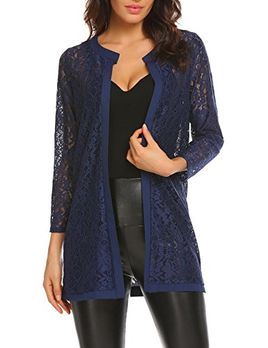 Nero 3 Light - Bulges Women Floral Lace Cardigan Shrug 3 4 Sleeve Front Open Bolero Blouse Crop Top Blue Small