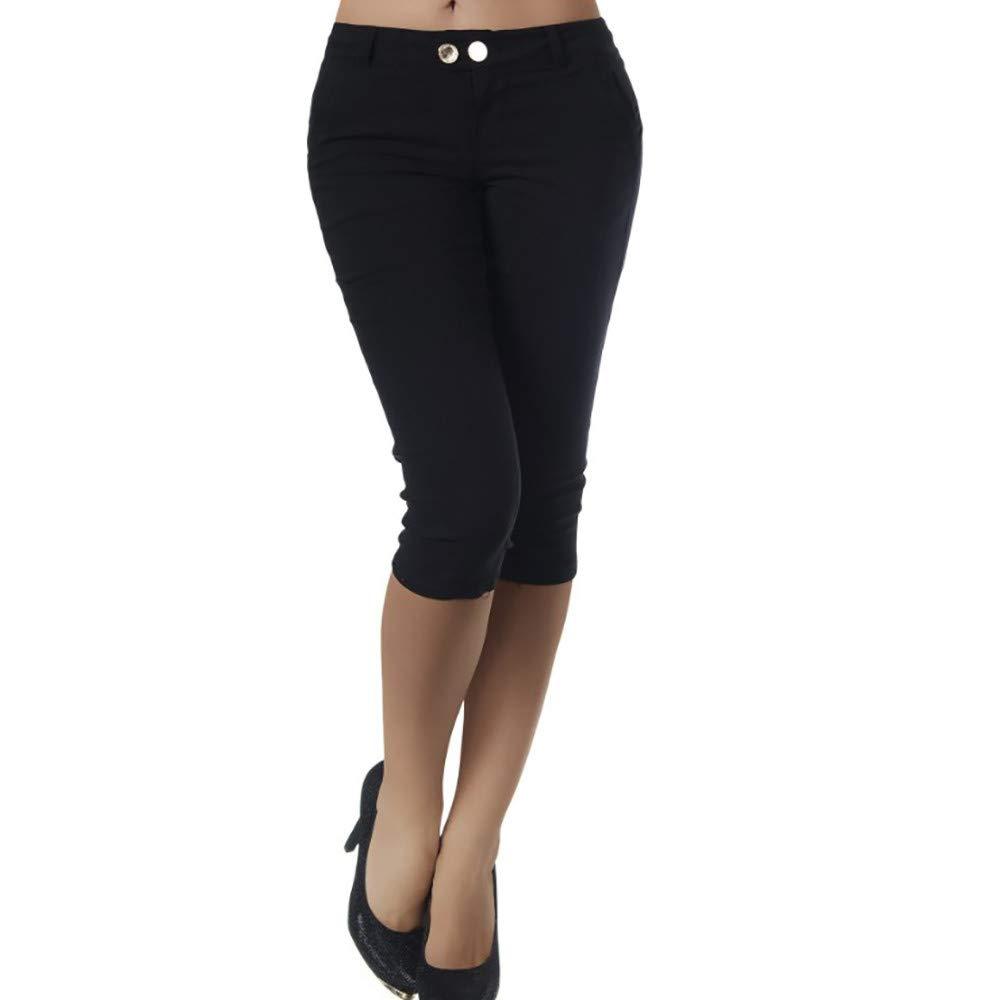 Pervobs Women Plus Size Solid Button Zipper High Waist Calf-Length Pants Trousers(S, Black A)