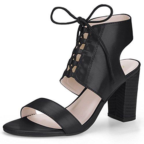 Schnürschuh K Allegra Schwarz Stacked Sandale High Damen Heel cXr8r0OdqW