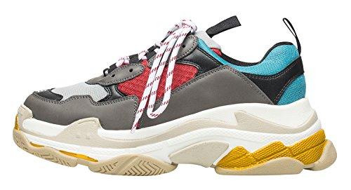 Annakastle Womens Color Accento Top Sneaker Alta Moda Sneaker Grigio