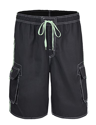 Nonwe Men's Beachwear Board Shorts Quick Dry with Mesh Lining Swim Trunks Black with Green Strap 34