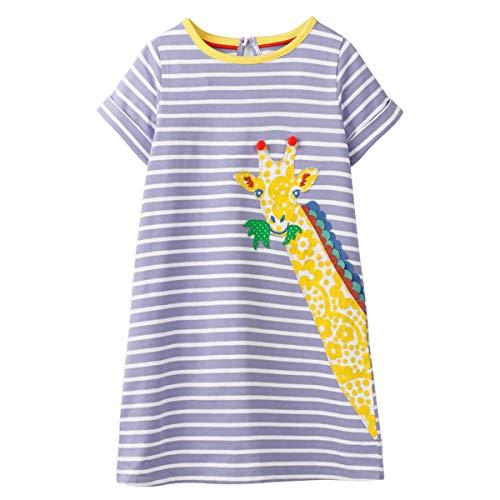 Little Girls Dress Casual Cotton Kids Unicorn Appliques Striped Jersey Dress (7T, ()