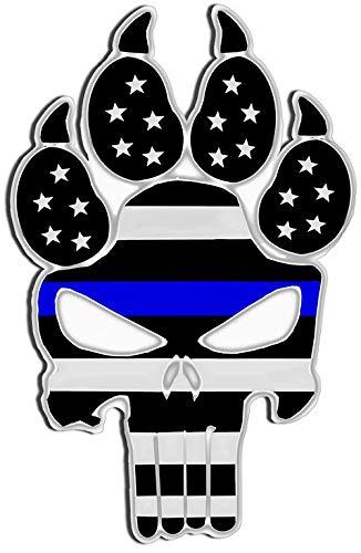 Dog Line Art - Thin Blue Line Police Dog K9 Unit Skull Laser CutOut Metal Sign 17Hx11W.