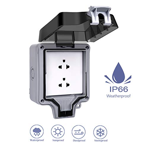 Outdoor Outlet,Wall Electrical Sockets,IP66 Waterproof Double Outlet with Cover, Weatherproof Socket for Kitchen,Bathroom,Garden,Swimming Pool,Outdoor/Indoor