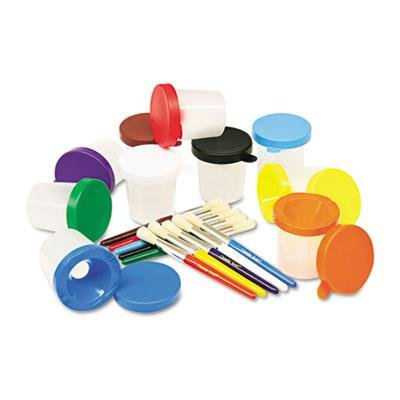 """Creativity Street - No-Spill Cups & Coordinating Brushes Assorted Colors 10/Set """"Product Category: Crafts & Recreation Room Products/Arts & Crafts Supplies"""""""
