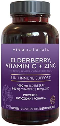 Elderberry, Vitamin C, Zinc, Vitamin D 5000 IU Ginger Immune Support Supplement, 2 Month Supply 120 Capsules - 5 in 1 Daily Immune Support for Adults