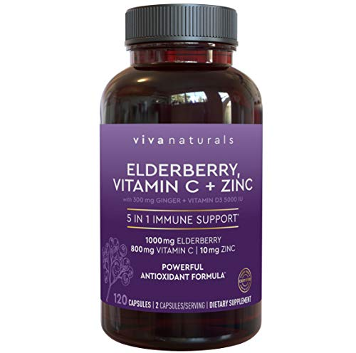 Elderberry, Vitamin C, Zinc, Vitamin D 5000 IU & Ginger Immune Support Supplement, 2 Month Supply (120 Capsules) – 5 in 1 Daily Immune Support for Adults
