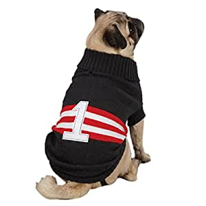 Zack & Zoey Acrylic Collegiate Dog Sweater, XX-Small, 8-Inch, Black