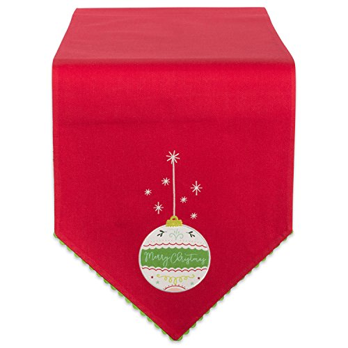 DII 100% Cotton Christmas Holiday Embroidered Table Runner, 14X72