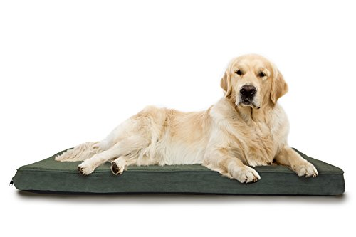 FurHaven Pet Dog Bed | Deluxe Orthopedic Snuggle Terry & Suede Mattress Pet Bed for Dogs & Cats, Forest, Jumbo
