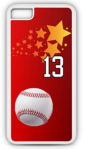 iPhone 6s Case Baseball Ground Rule Double Customizable by TYD Designs in White Rubber with Team Number 13 (Babe Rules Ruth Baseball)