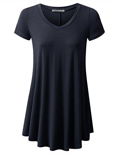 URBANCLEO Womens V-Neck Elong Tunic Top Mini T-Shirt Dress Navy ()