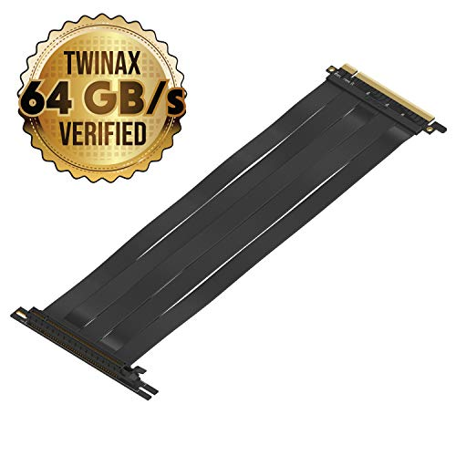 LINKUP {30 cm} PCIE 16x 3.0 64GB/s Shielded Twin-axial Riser Cable Premium PCI Express Port Extension Card | 90 Degree Socket (Universal Screw Holes)