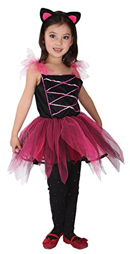 Girls Cat Halloween Costumes Kitty Role Play Cosplay Tutu Dress Up for Children (X-Large) Red]()