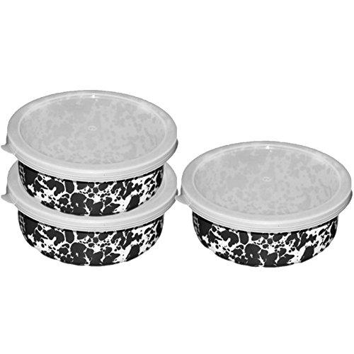 Enamelware - Set of 3 Storage Bowls w/Lids - Black Marble