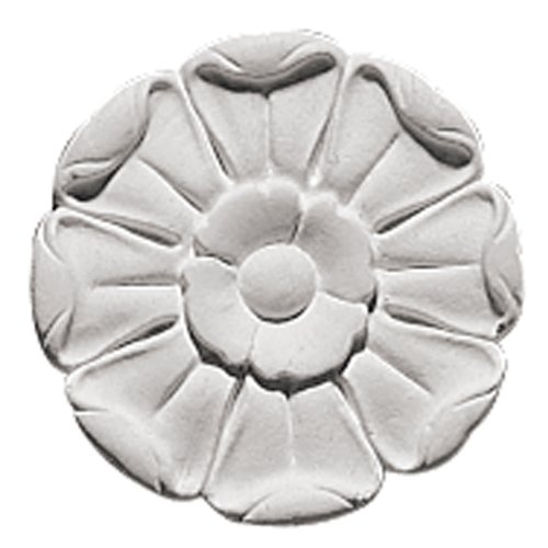 Focal Point 85002 Mimosa Rosette 3 3/4-Inch Diameter by 3/4-Inch Projection, Primed White, 4-Pack